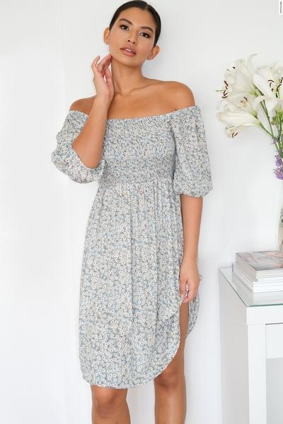 Sage Floral Print Bardot Dress